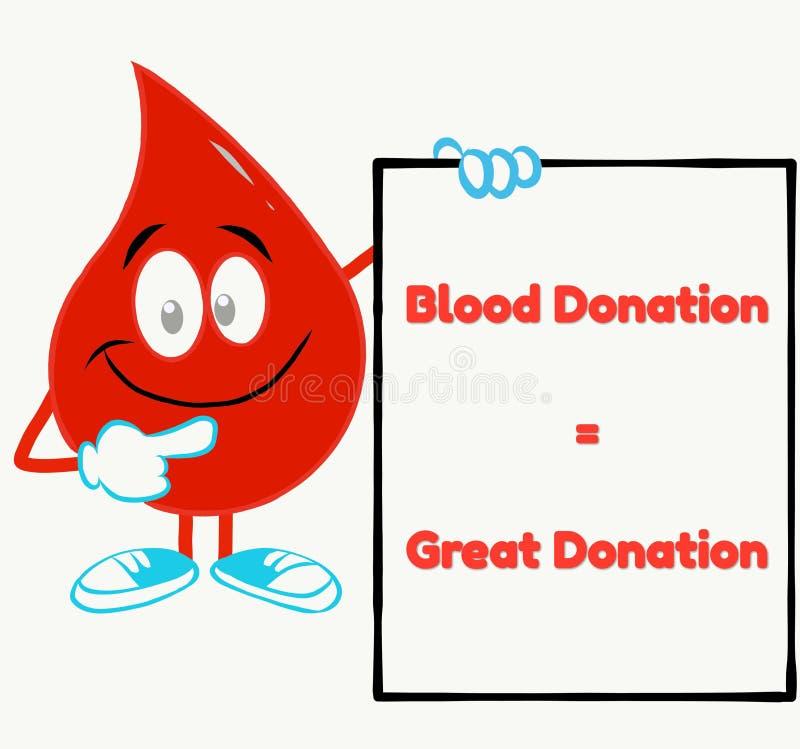идеальная цитата донорства крови с красным падением крови бесплатная иллюстрация