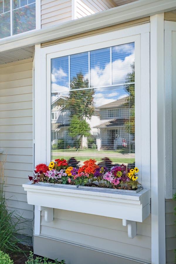 Идеальный район Окно лицевой стороны жилого дома с цветником на дне Окно дома семьи с цветками дальше стоковые изображения rf