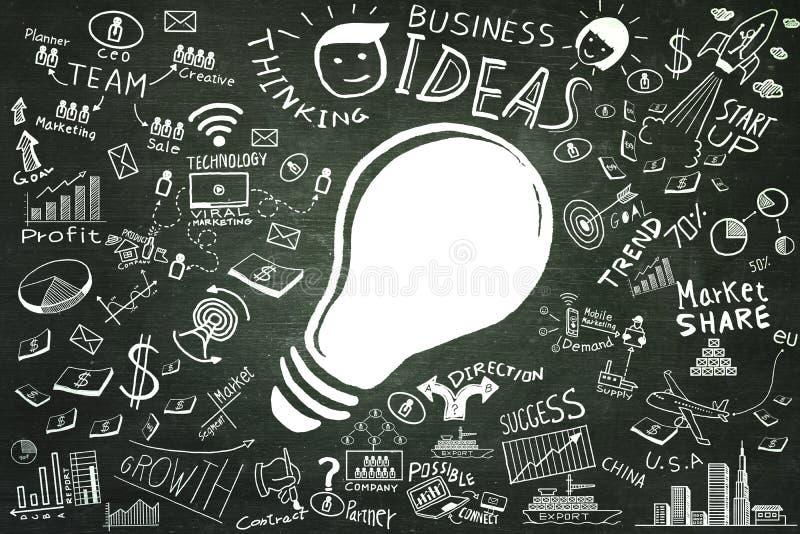 Идеи дела Установленные doodles дела электрической лампочки чертежа от руки иллюстрация штока