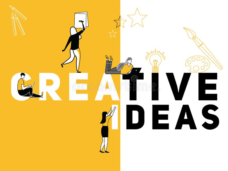 Идеи и люди творческой концепции слова творческие делая вещи иллюстрация вектора