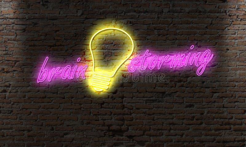 идеи и неоновое свето шарика на переулке ночи на мозге кирпичной стены стоковые фото