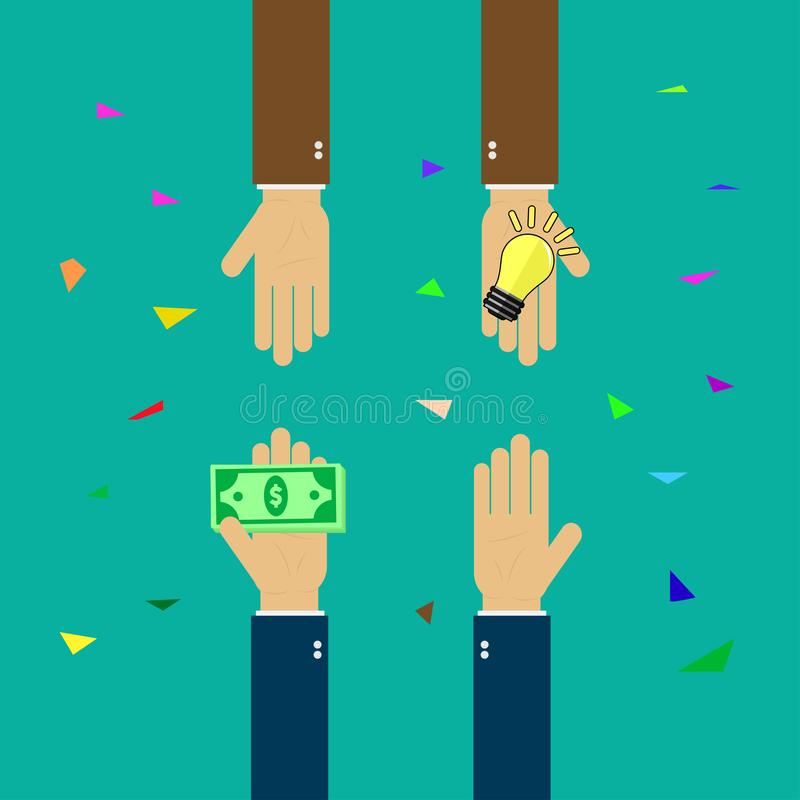 Идеи покупки, идея торгуя для денег, преуспевают в деле, руке держат деньги, руку держат электрическую лампочку иллюстрация штока