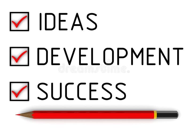 Идеи, развитие, успех Список с метками иллюстрация вектора