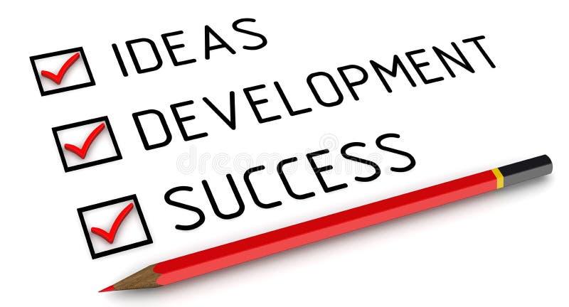 Идеи, развитие, успех Список с метками бесплатная иллюстрация