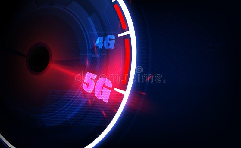 Идеи соединения высокоскоростного интернета 5G, спидометр и соединение интернета 5G r иллюстрация вектора