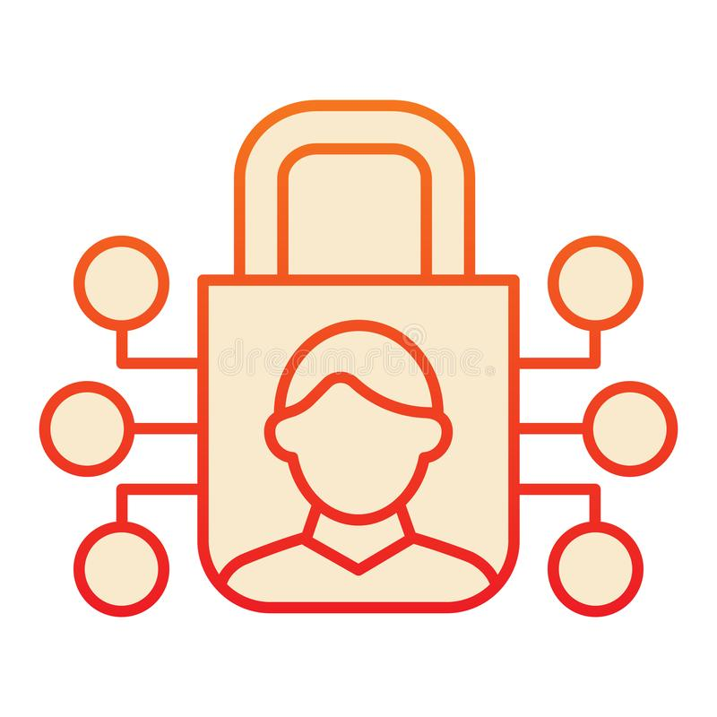 Идентификация человека и запереть плоский значок Опознавание потребителя и padlock красные значки в ультрамодном плоском стиле до бесплатная иллюстрация