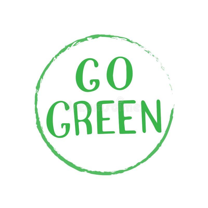 Идет зеленый ультрамодный текст Нул отходов, жизнь vegan, концепция eco дружелюбная иллюстрация вектора