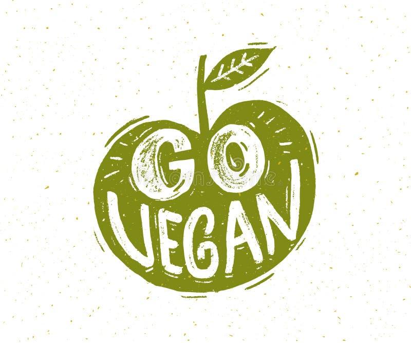 Идет лозунг vegan Литерность руки в форме зеленого яблока иллюстрация вектора