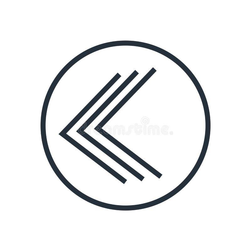 Идет назад знак вектора значка кнопки и символ изолированный на белой предпосылке, идет задняя концепция логотипа кнопки бесплатная иллюстрация