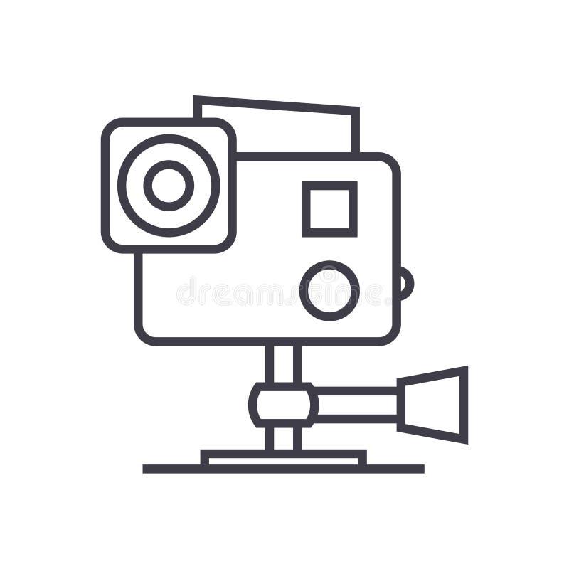 Идет pro линия значок вектора видеокамеры, знак, иллюстрация на предпосылке, editable ходах бесплатная иллюстрация