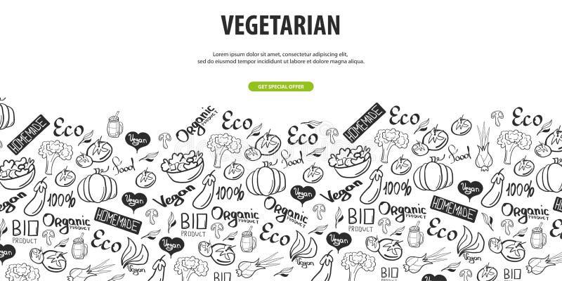идет vegan еда здоровая Вегетарианское знамя предпосылка doodle Рук-притяжки также вектор иллюстрации притяжки corel бесплатная иллюстрация