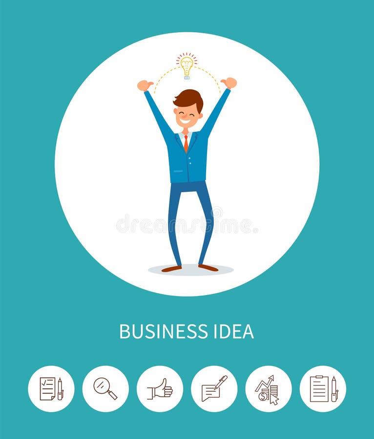 Идея дела, человек с лампой Eureka электрической лампочки иллюстрация штока