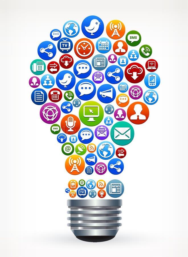 Идея лампы для социальных средств массовой информации и интернета стоковые изображения rf