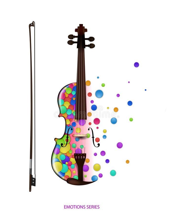 Идея на белой предпосылке, violine созданное от небольших покрашенных частей, цвет музыки скрипки концепции музыки, иллюстрация вектора