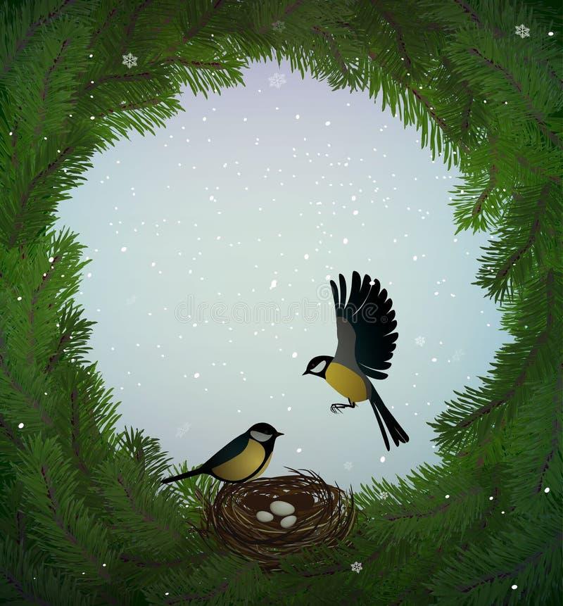 Идея праздника зеленого цвета Eco, венок ветвей рождественской елки с гнездом и 2 птицы внутрь, сладкий дом, защищают лес иллюстрация штока