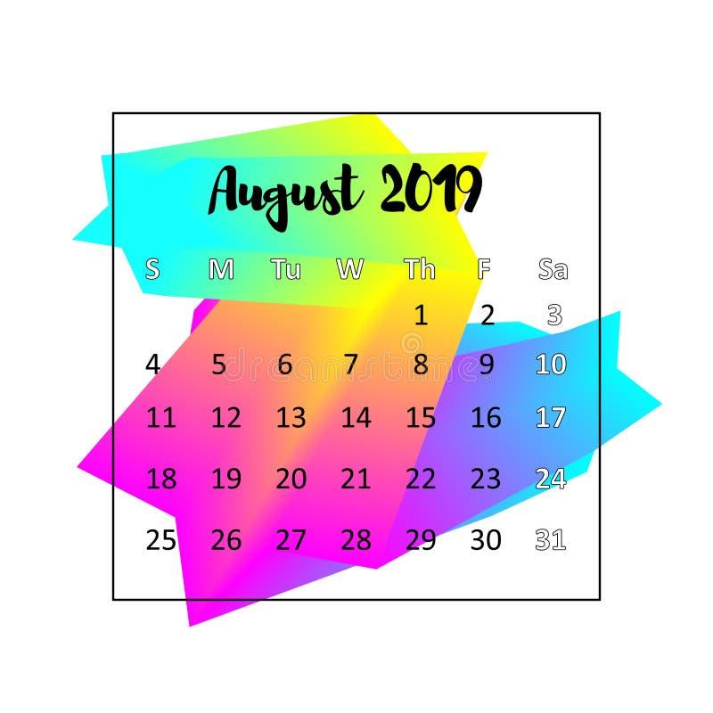 Идея проекта 2019 календаря Август 2019 иллюстрация штока