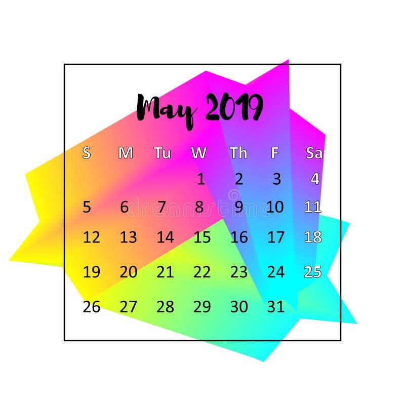 Идея проекта 2019 календаря Май 2019 бесплатная иллюстрация