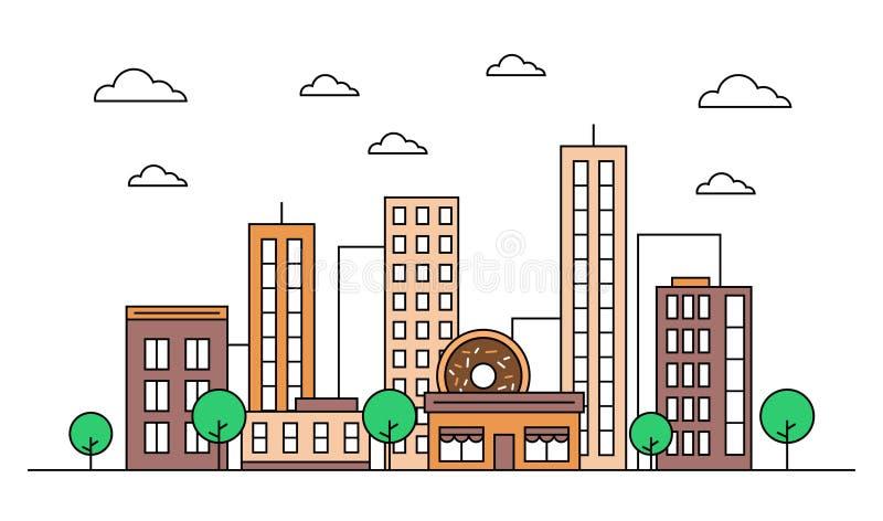 Идея проекта ландшафта горизонта города с зданиями, scyscrapers, кафем магазина донута, облаками, деревьями Вектор, графическая и иллюстрация штока