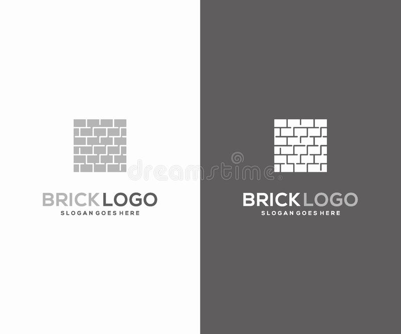 Идея проекта логотипа кирпича, шаблон дизайна логотипа конструкции строя иллюстрация вектора