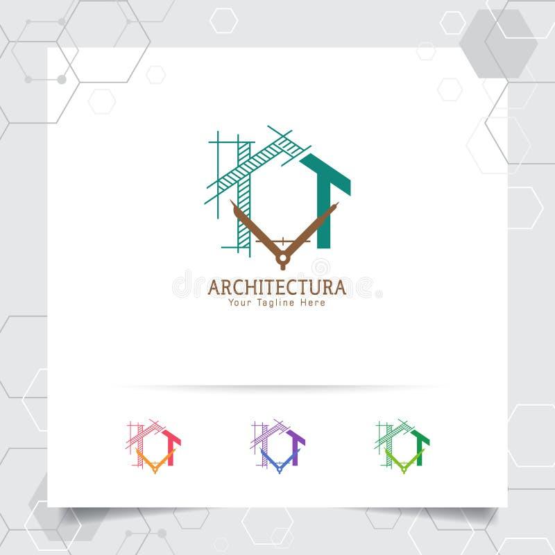 Идея проекта логотипа конструкции архитектора архитектурноакустического эскиза дома Значок логотипа свойства для подрядчика и нед бесплатная иллюстрация
