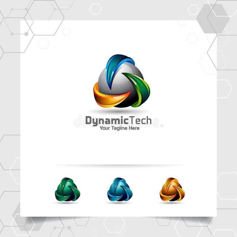 идея проекта логотипа треугольника 3D элемента символа стрелки, красочного логотипа вектора треугольника используемого для финанс иллюстрация штока