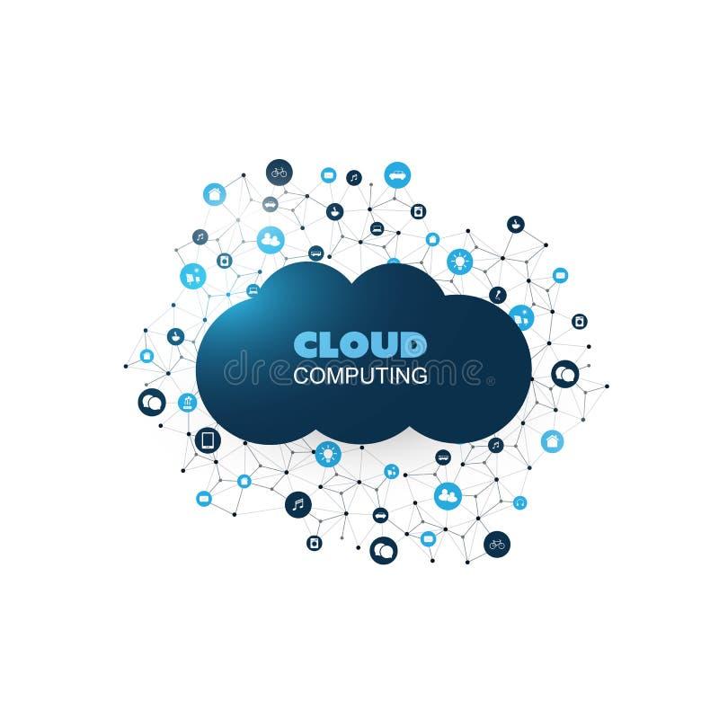 Идея проекта облака вычисляя с сеткой, соединенными значками представляя различные умные приборы и обслуживания иллюстрация вектора