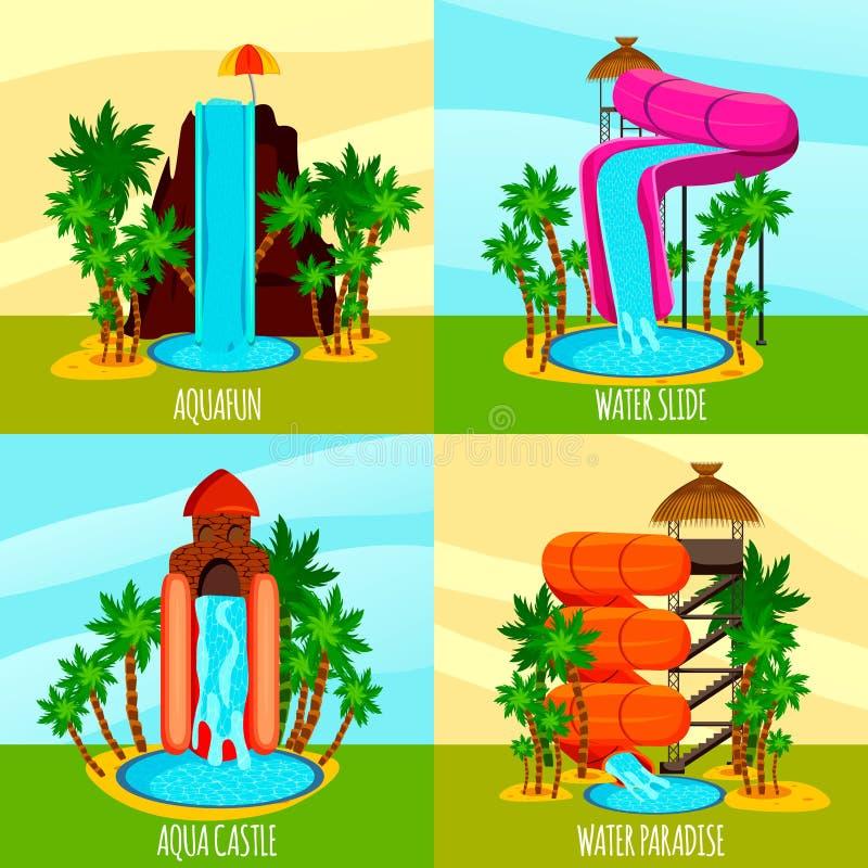 Идея проекта парка Aqua плоская иллюстрация штока