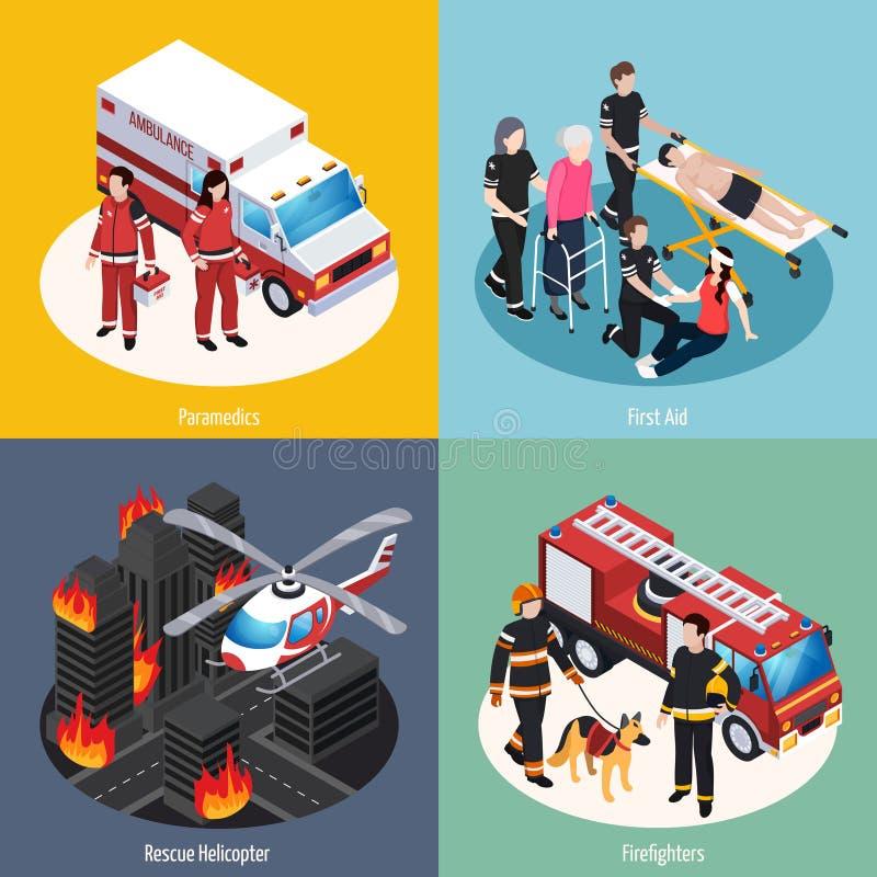 Идея проекта спасательной команды 2x2 иллюстрация вектора