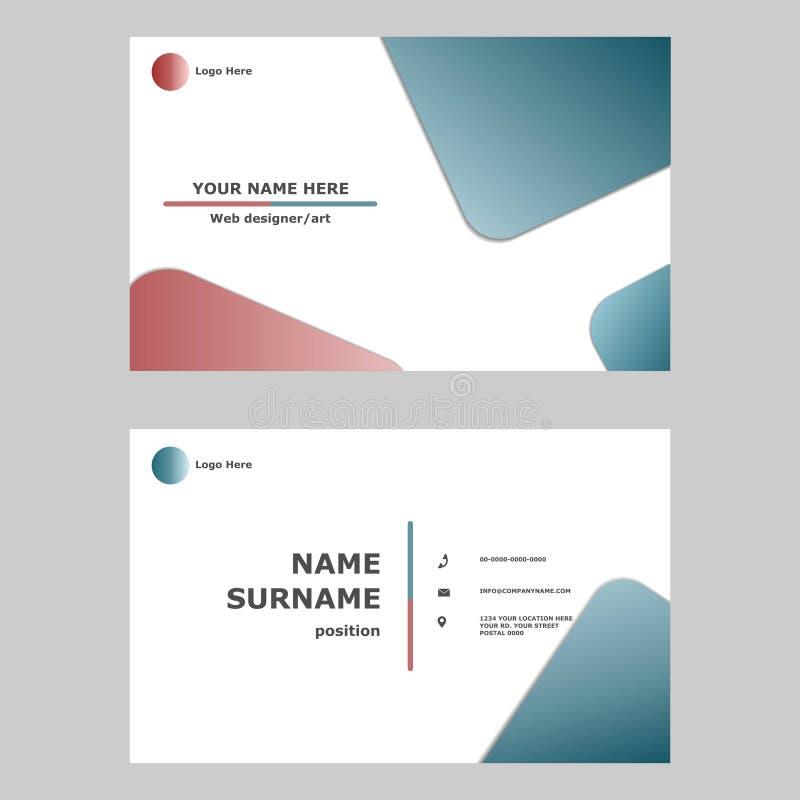 Идея проекта шаблона визитной карточки Иллюстрация карты векторной графики современный, простой и чистый дизайн стиля для професс иллюстрация вектора