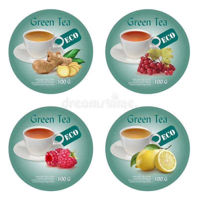 Идея проекта ярлыка для зеленого чая иллюстрация вектора