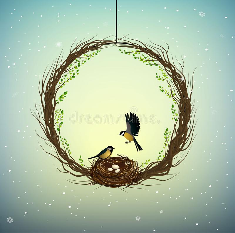 Идея родного дома, венок thebranches с гнездом и 2 птицы внутрь, сладкий дом, весна внутри идеи, природы иллюстрация штока