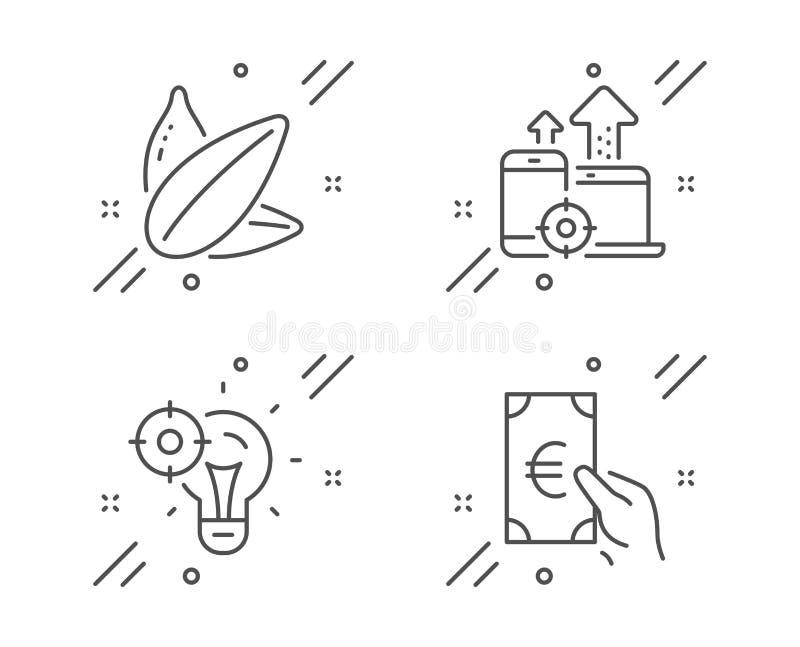 Идея Seo, приборы Seo и значки семян подсолнуха набор Знак финансов Представление, мобильный stats, вегетарианская еда r иллюстрация штока
