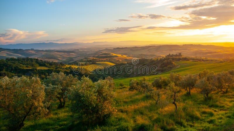 Идилличный заход солнца вечера в тосканском ландшафте с зелеными холмами, Тоскане, Италии стоковое изображение rf