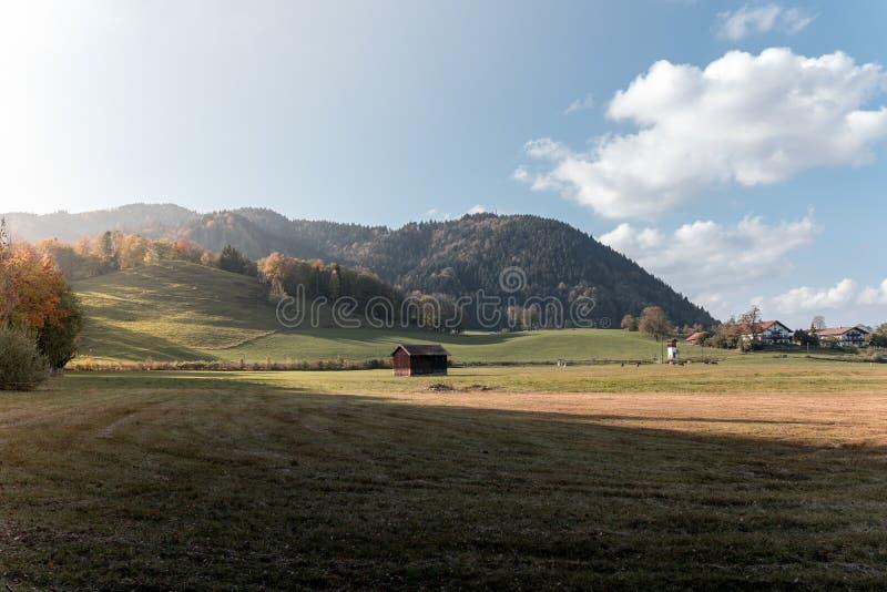 Идилличный ландшафт в Альп с лугами в осени на заходе солнца стоковое изображение