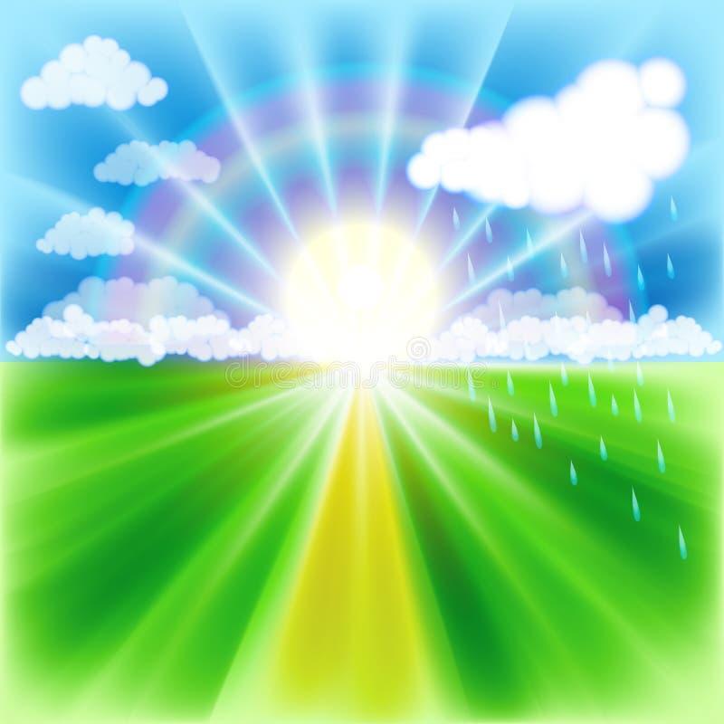 идите дождь желтый цвет захода солнца лета дороги радуги бесплатная иллюстрация