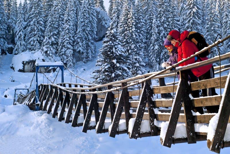 Идите на висячий мост на морозный день стоковые изображения rf