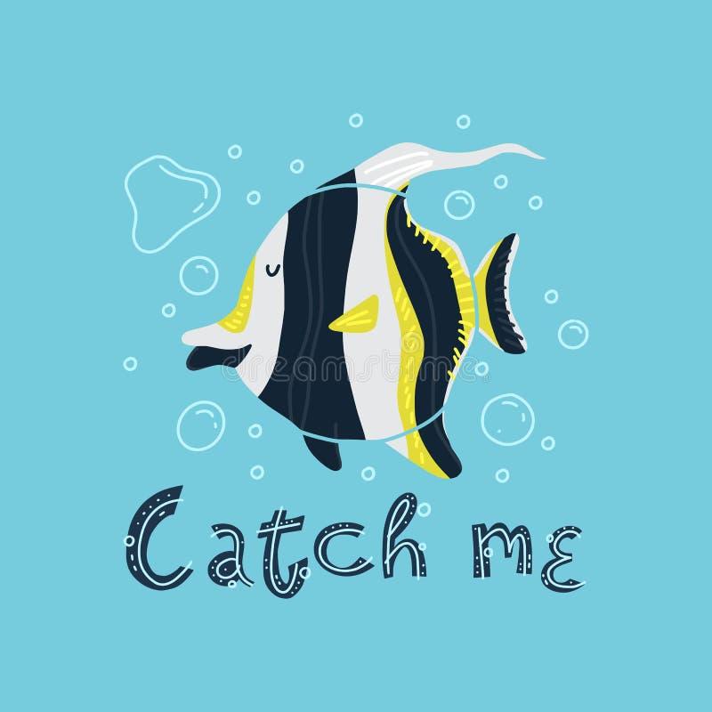 Идол милых тропических рыб moorish с помечать буквами, который нужно улов иллюстрация штока