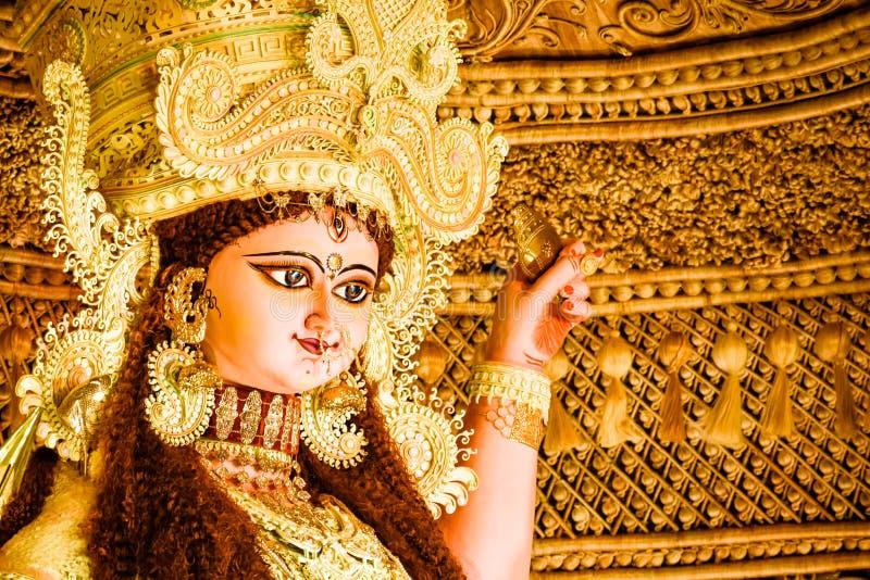Идол Maa Jagadhatri Очень хорошо украшенный стоковая фотография rf