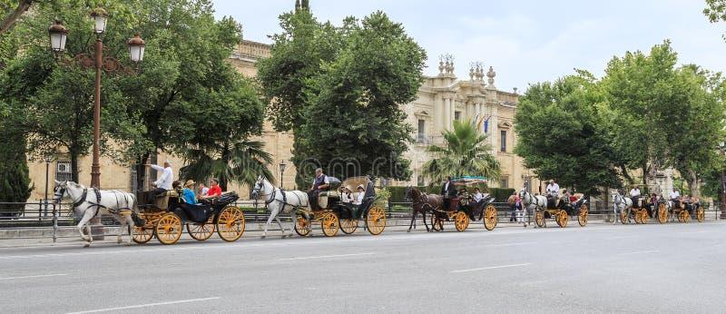 Идти в экипажей лошади в Севилье стоковые изображения