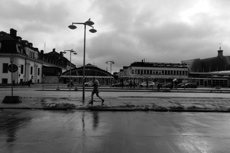 Идти дождь день в Стокгольме стоковое фото rf