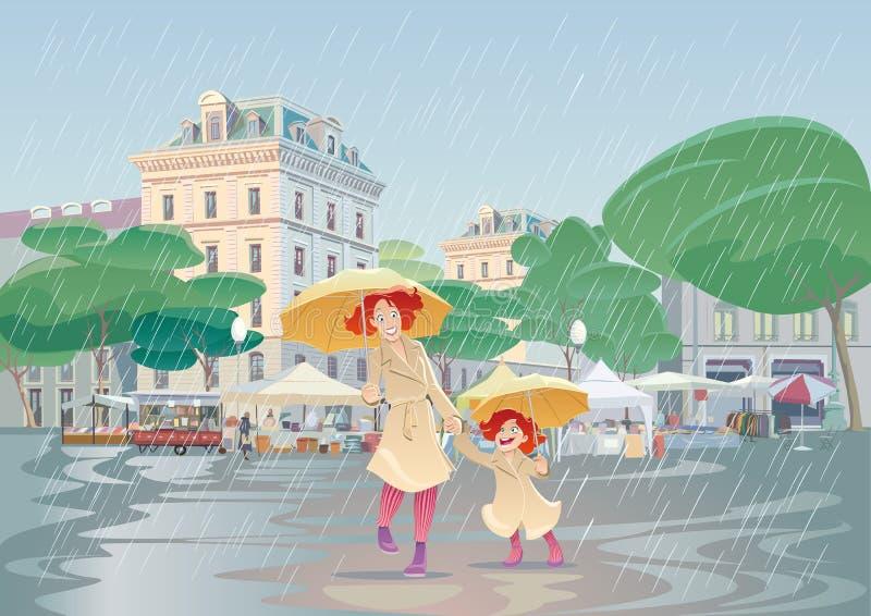 Идти дождь день иллюстрация вектора