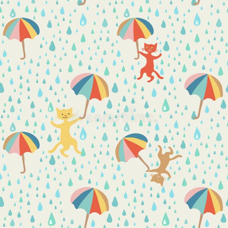 Идти дождь картина ` котов и собак графическая безшовная Doodle тип чертеж вручает ее нижнее белье утра вверх по теплым детенышам бесплатная иллюстрация