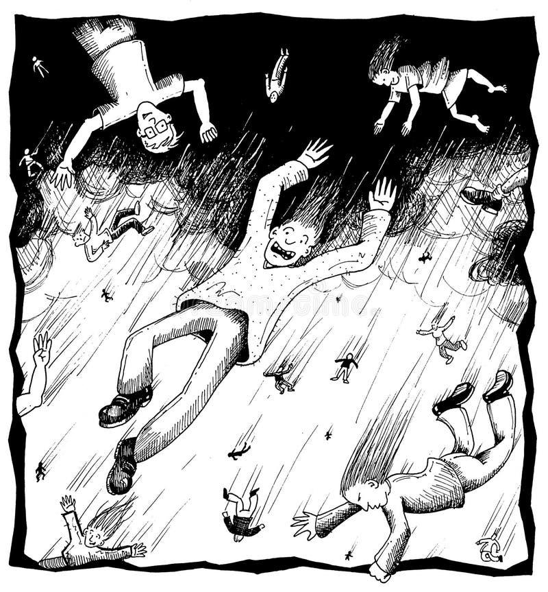 идти дождь людей иллюстрация вектора