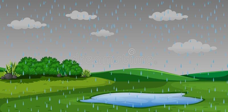 Идти дождь сцена парка outdor иллюстрация штока