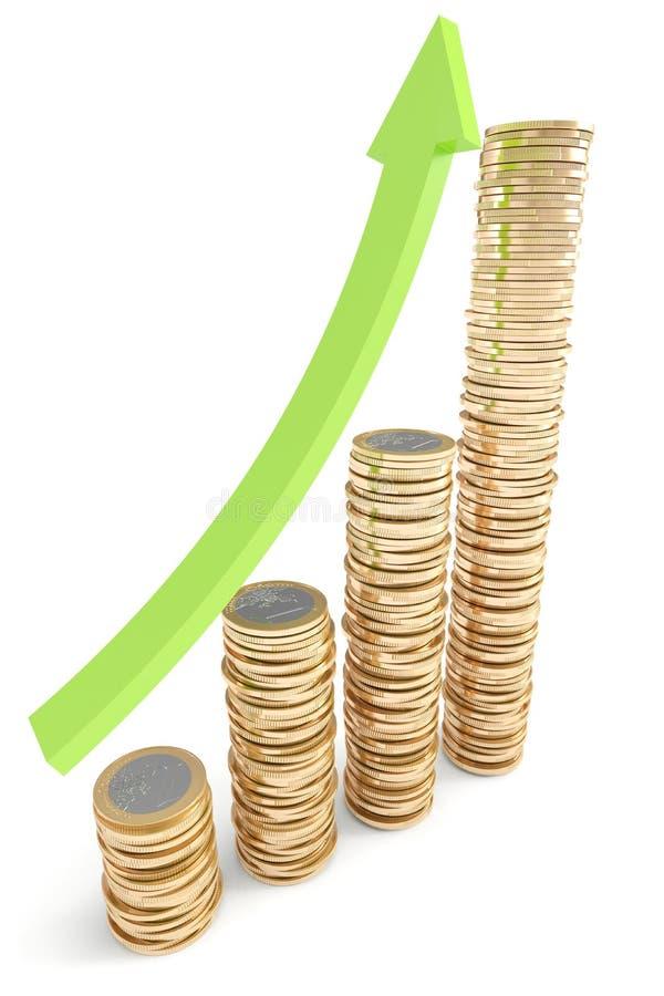 идти евро монеток стрелки штабелирует вверх иллюстрация вектора