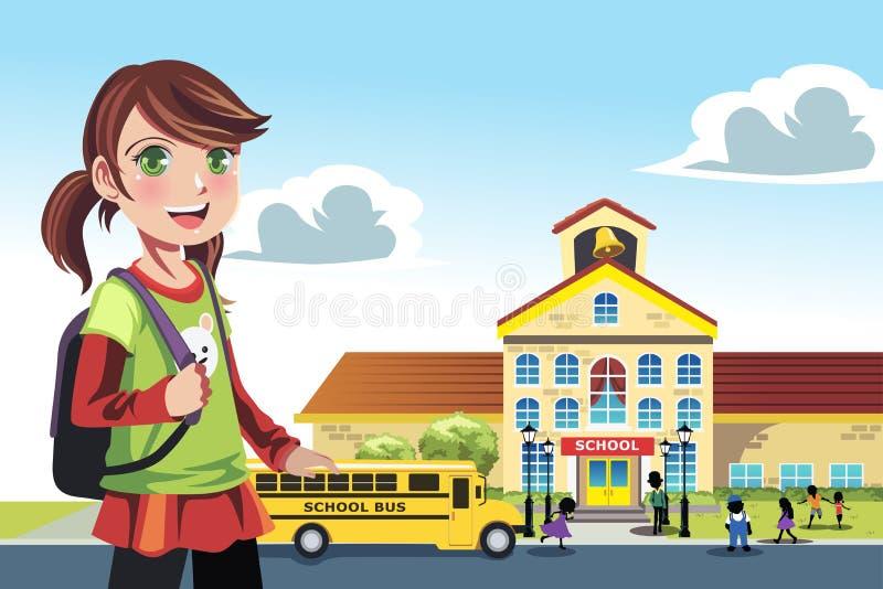 Идти к школе иллюстрация штока