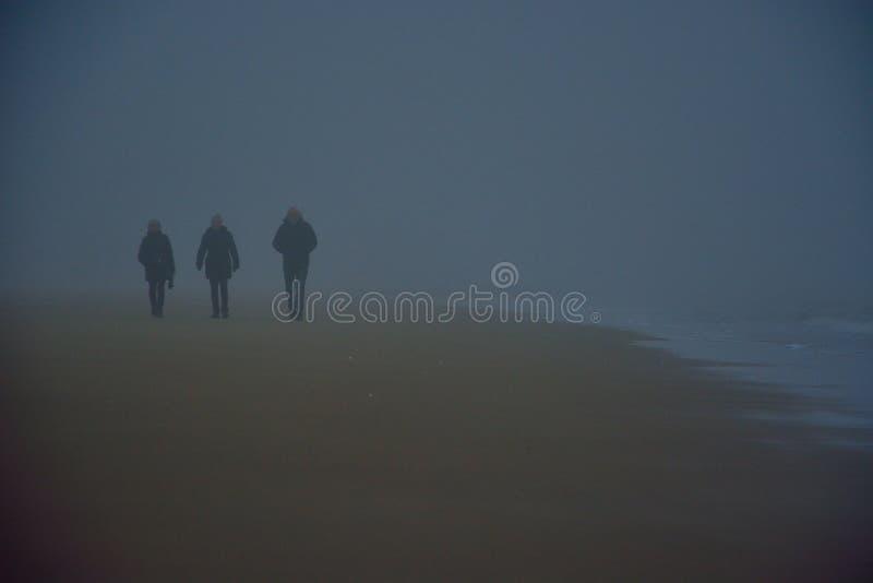 Идти 3 людей идя на пляж в тумане стоковые фотографии rf