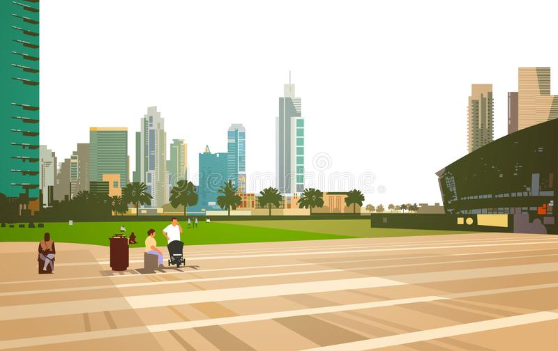 Идти людей ослабляет концепцию арены стадиона над предпосылкой городского пейзажа зданий небоскреба современной плоско горизонтал иллюстрация вектора