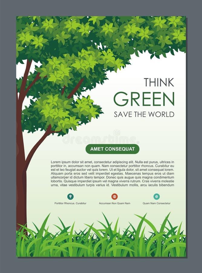Идут зеленый цвет, спасительный летчик природы, знамя или памфлет бесплатная иллюстрация