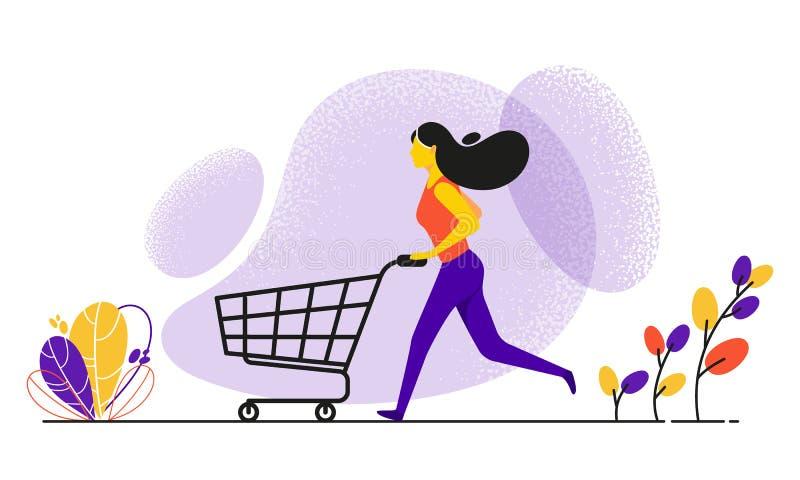 Идущая женщина нажимая корзину стоковое фото